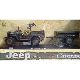 JEEP WILLYS US ARMY AVEC REMORQUE ET PERSONNAGE
