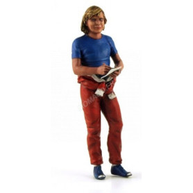 FIGURINE JAMES HUNT SIGNANT UN AUTOGRAPHE