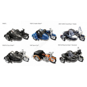 "DISPLAY DE 6 PIECES : MOTOS AVEC SIDECAR/SERVI-CAR ""HARLEY DAVIDSON"""