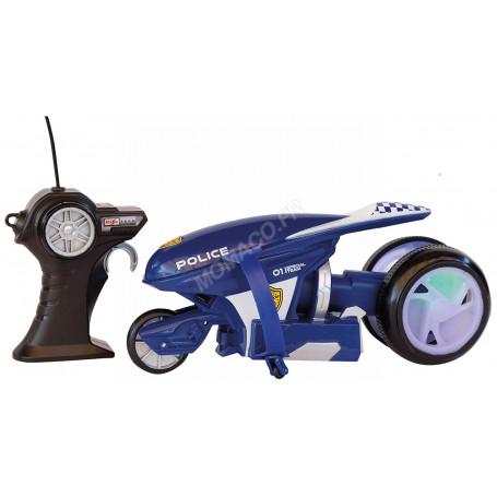 TECH RC - CYKLONE 360 MOTO A ROUE INCLINABLE BLEUE POLICE