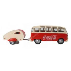 "VOLKSWAGEN T1 BUS SAMBA ""COCA-COLA"" 1962 ROUGE/CREME  AVEC MINI-CARAVANE (EPUISE)"