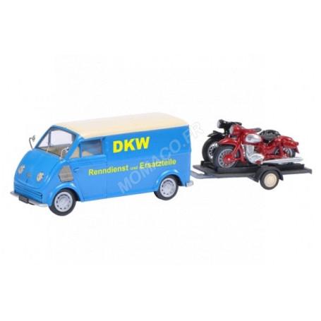 """DKW SCHNELLASTER """"DKW"""" AVEC REMORQUE ET 2 MOTOS : DKW RT125/RT350"""