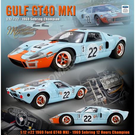"""FORD GT40 MKI 22 """"GULF"""" ICKX/OLIVER SEBRING 1969 1ER"""