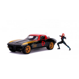"CHEVROLET CORVETTE 1966 ""BLACK WIDOW"" AVEC FIGURINE BLACK WIDOW"