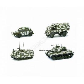 """SET DE 4 PIECES """"WINTER-TARNUNG"""" (M113/M47/UNIMOG S404/VW KUBEL)"""