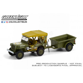 JEEP WILLYS MB AVEC M5 LIQUID VESICANT DETECTOR INVASION STAR AVEC REMORQUE