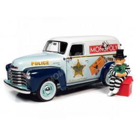 "CHEVROLET VAN 1948 ""MONOPOLY - POLICE"" AVEC FIGURINE Mr MONOPOLY PRISONNIER"