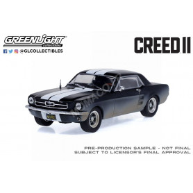 """FORD MUSTANG COUPE 1967 """"CREED II (2018) - ADONIS CREED"""" NOIR MATT AVEC BANDES BLANCHES SALIE"""